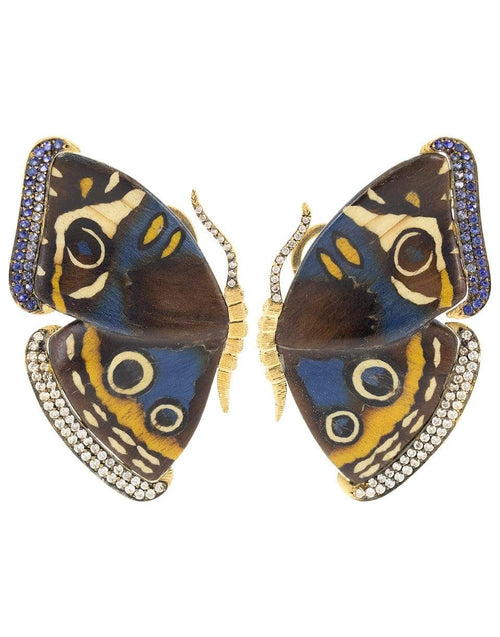 SILVIA FURMANOVICH JEWELRYFINE JEWELEARRING YLWGOLD Blue and Yellow Marquetry Butterfly Earrings