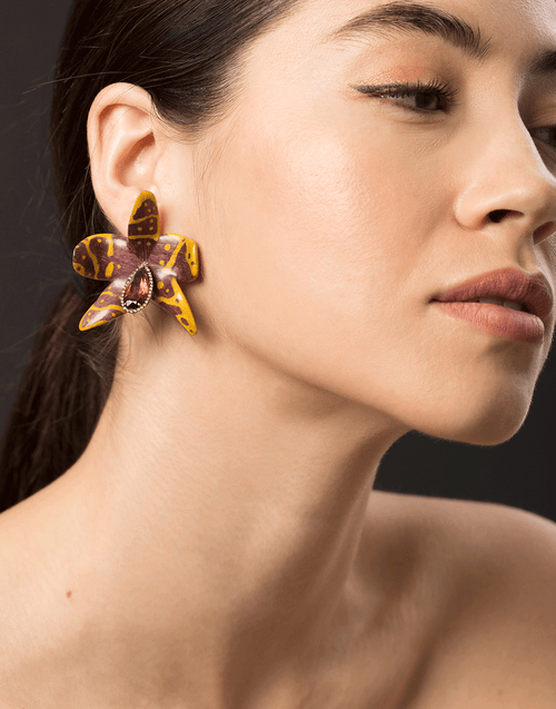 SILVIA FURMANOVICH JEWELRYFINE JEWELEARRING YLWGOLD Botanical Orchid Earrings