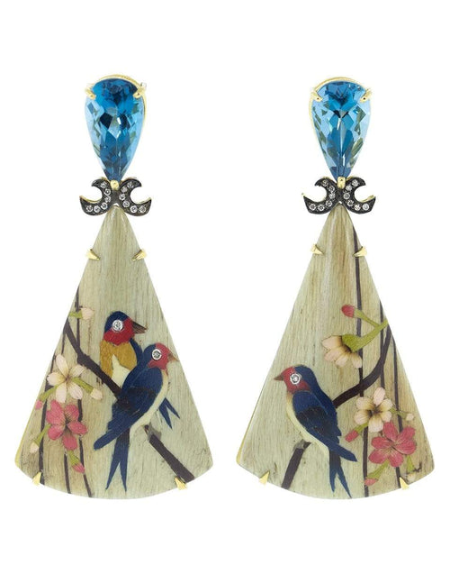 SILVIA FURMANOVICH JEWELRYFINE JEWELEARRING YLWGOLD Marquetry Bird Triangle Earrings