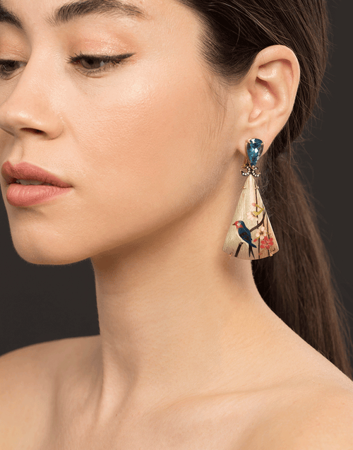 Marquetry Bird Triangle Earrings