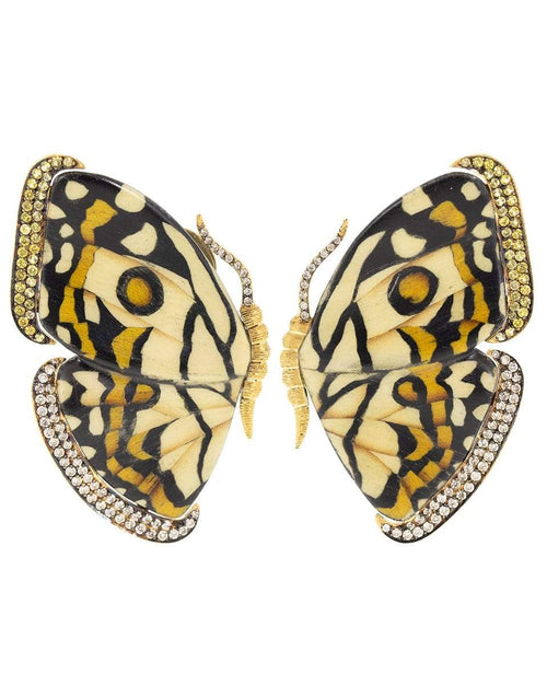 SILVIA FURMANOVICH JEWELRYFINE JEWELEARRING YLWGOLD White and Yellow Marquetry Butterfly Earrings