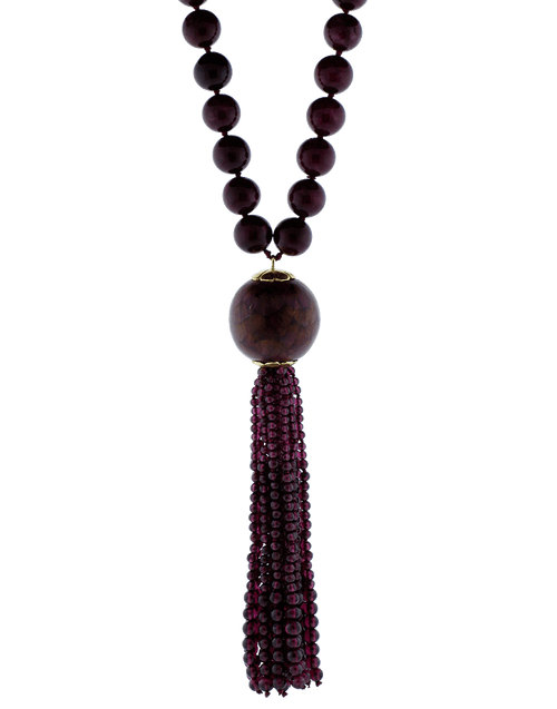 SILVIA FURMANOVICH JEWELRYFINE JEWELNECKLACE O YLWGOLD Marquetry Light  Purple Tassel Necklace