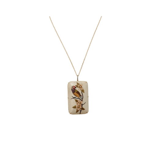 SILVIA FURMANOVICH JEWELRYFINE JEWELNECKLACE O YLWGOLD Marquetry White Bird Necklace