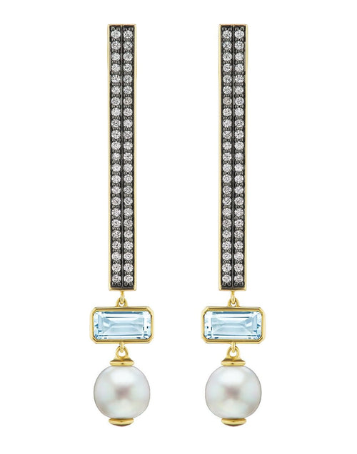 SORELLINA JEWELRYFINE JEWELEARRING YLWGOLD Aquamarine, Pearl and Diamond Stick Earrings