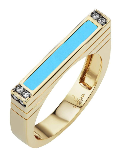 SORELLINA JEWELRYFINE JEWELRING YLWGOLD / 6 Turquoise and Diamond Stacking Ring