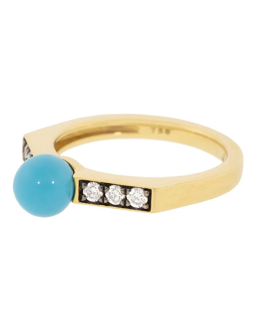 SORELLINA JEWELRYFINE JEWELRING YLWGOLD / 6 Turquoise Ball and Diamond Ring