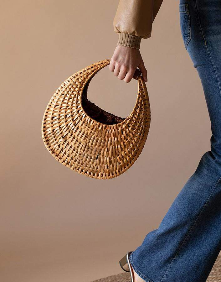 STAUD HANDBAGSHOULDER NATURAL Natural Rattan Moon Bag