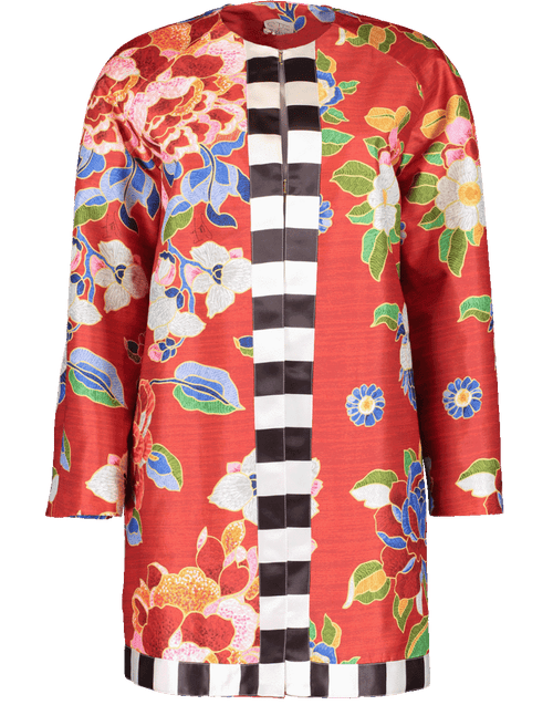 STELLA JEAN CLOTHINGCOATMISC Collarless Floral Print Coat