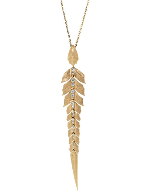 STEPHEN WEBSTER JEWELRYFINE JEWELNECKLACE O ROSEGOLD Magnipheasant Diamond Feather Pendant Necklace