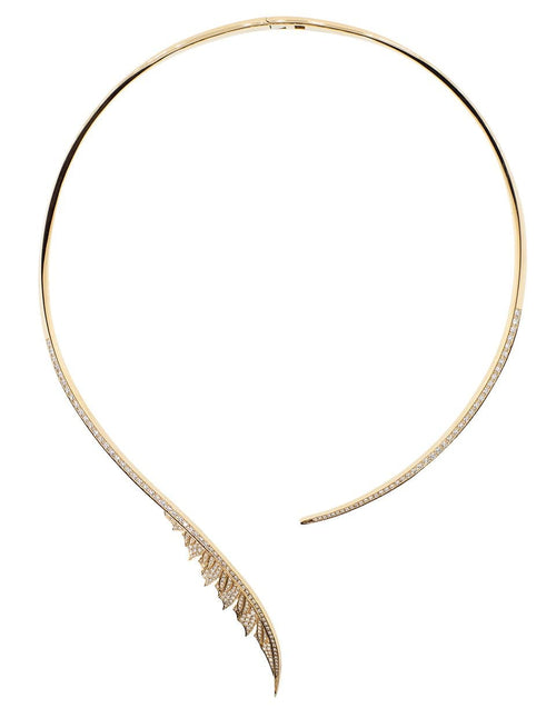 STEPHEN WEBSTER JEWELRYFINE JEWELNECKLACE O ROSEGOLD Magnipheasant Torque Diamond Feather Necklace