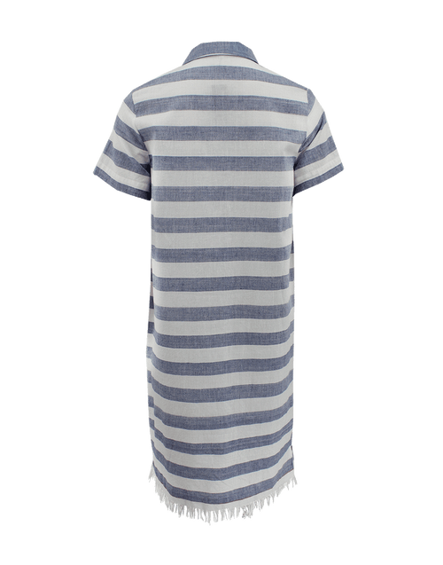 SUNO CLOTHINGDRESSCASUAL Short Sleeve Stripe Button Down Dress