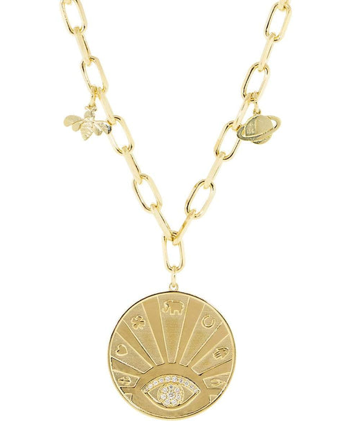 SYDNEY EVAN JEWELRYFINE JEWELNECKLACE O YLWGOLD Diamond Evil Eye Luck Coin Necklace