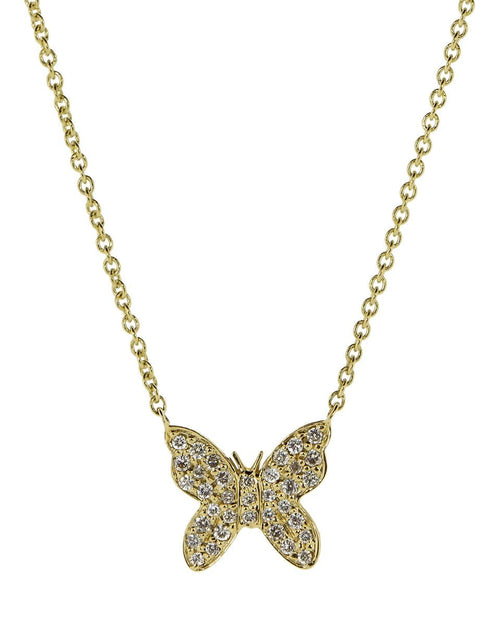SYDNEY EVAN JEWELRYFINE JEWELNECKLACE O YLWGOLD Small Diamond Pave Butterfly Pendant Necklace