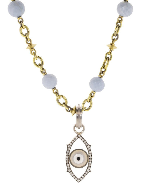 SYLVA & CIE JEWELRYFINE JEWELPENDANT WHTGOLD Diamond and Agate Grey Evil Eye Charm