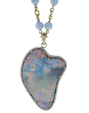 SYLVA & CIE JEWELRYFINE JEWELPENDANT WHTGOLD Large Opal and Round Brilliant Cut Diamond Pendant