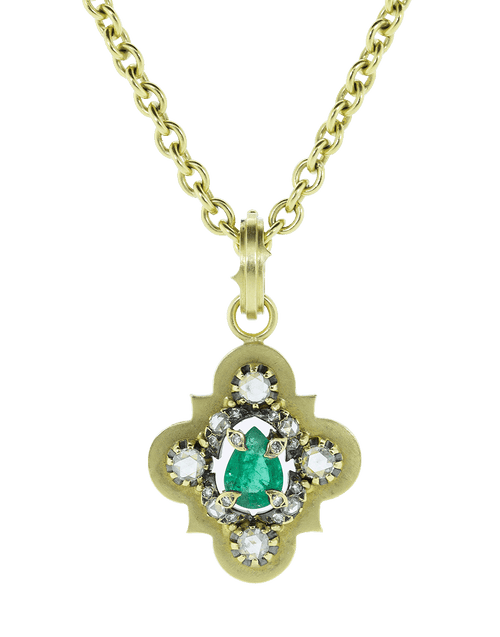 SYLVA & CIE JEWELRYFINE JEWELPENDANT YLWGOLD Vintage Pear Shape Emerald and Diamond Pendant