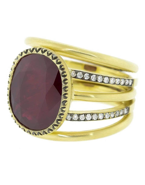 SYLVA & CIE JEWELRYFINE JEWELRING YLWGOLD / 7.25 Mozambique Ruby and Diamond Ring
