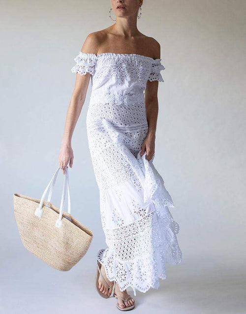 TEMPTATION POSITANO CLOTHINGDRESSCASUAL Malta Off Shoulder Tea Length Dress
