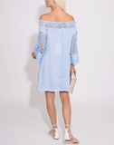 TEMPTATION POSITANO CLOTHINGTOPMISC Off Shoulder Crochet Lace Dress