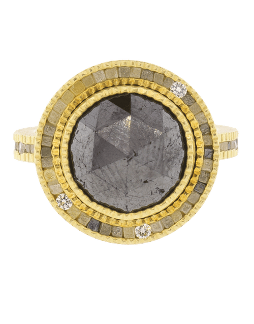 TODD REED JEWELRYFINE JEWELRING YLWGOLD / 6.25 Black Diamond Ring