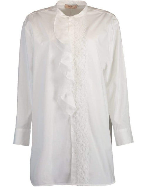 TWIN-SET CLOTHINGTOPTUNIC Ruffle Placket Cotton Tunic Blouse