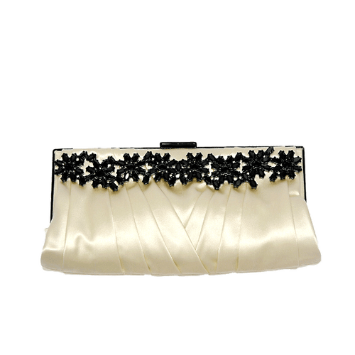 VALENTINO ACCESSORIES HANDBAGEVENING IVRY/BLK Pleated Frame Clutch