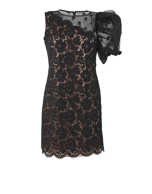 VALENTINO CLOTHINGDRESSCOCKTAIL BLACK / 6 Puff Sleeve Lace Cocktail Dress
