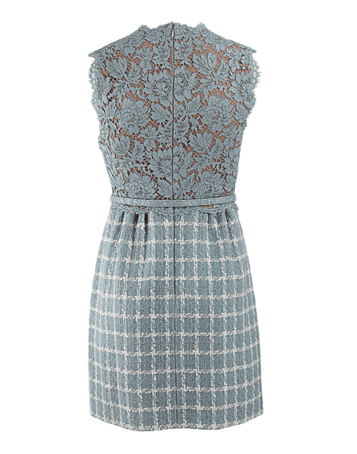 VALENTINO CLOTHINGTOPBLOUSE SKY BLUE / 4 Lace and Tweed Dress with Belt