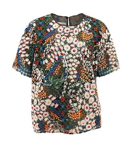 VALENTINO CLOTHINGTOPMISC BLACK / 12 Short Sleeve Floral Mesh Top