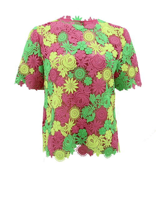 VALENTINO CLOTHINGTOPMISC PNK/GRN / 4 Short Sleeve Floral Embroidered Top