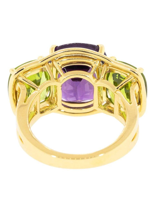 VERDURA JEWELRYFINE JEWELRING YLWGOLD / 6 Peridot and Amethyst Large Three Stone Ring