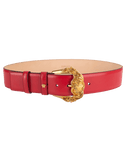VERSACE ACCESSORIEBELTS Gold Buckle Wide Leather Belt