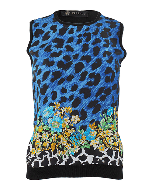 VERSACE CLOTHINGDRESSCASUAL Sleeveless Silk Floral Front Top