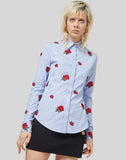 VERSACE CLOTHINGTOPBLOUSE Rose Embroidered Striped Shirt