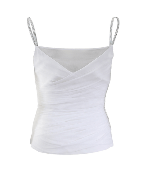 VERSACE CLOTHINGTOPMISC WHITE / 42 Jeweled Strap Tank Top