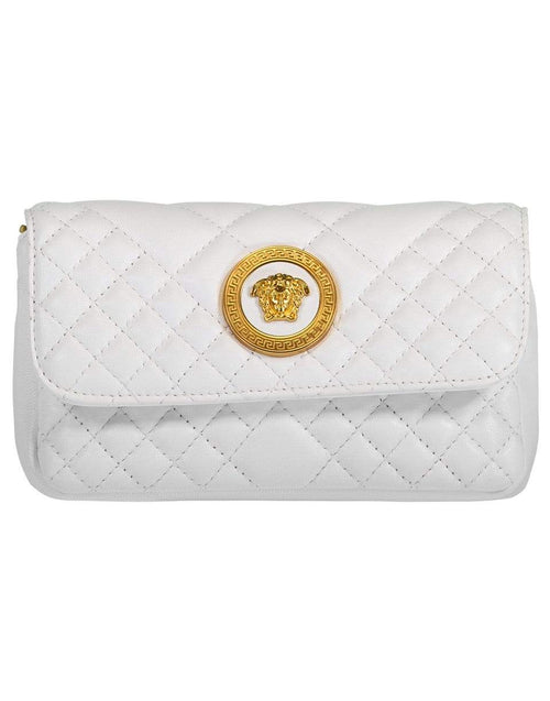VERSACE HANDBAGSHOULDER OFFWHT Mini Crossbody Quilted Leather Bag