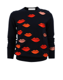 VICTORIA BY V. BECKHAM CLOTHINGTOPSWEATER Lip Embroidered Sweater