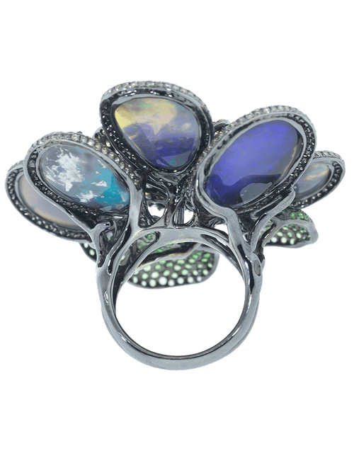 WENDY YUE JEWELRYFINE JEWELRING WHTGOLD / 6.75 Opal Diamond Flower Ring
