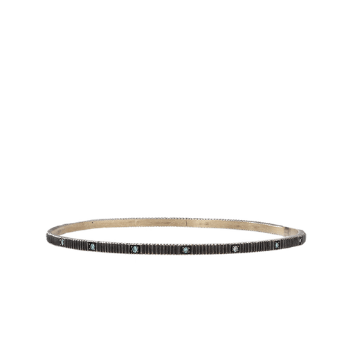 YOSSI HARARI JEWELRYFINE JEWELBRACELET O GILVER Lilah Bangle With Blue Diamonds