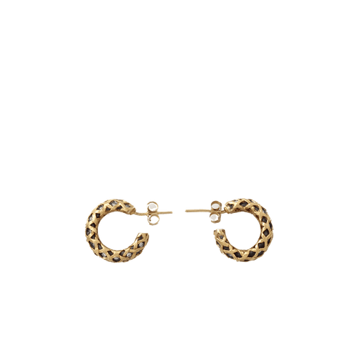 YOSSI HARARI JEWELRYFINE JEWELEARRING YLWGOLD Diamond Rattan Small Hoop Earrings