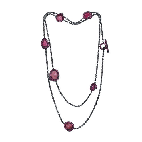YOSSI HARARI JEWELRYFINE JEWELNECKLACE O GILVER Lilah Ruby Slice Chain Wrap Necklace