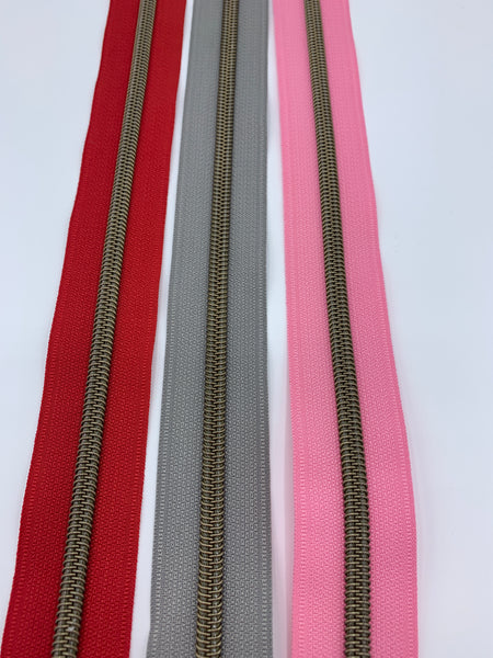 #5 Nylon Zipper Pack- Red/Pink Combo