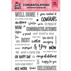 Back To Basics 6x8 Congratulations Sentiment Stamp Set
