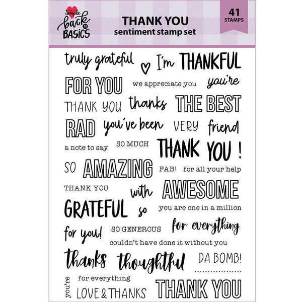 Back To Basics 6x8 Thank You Sentiment Stamp Set