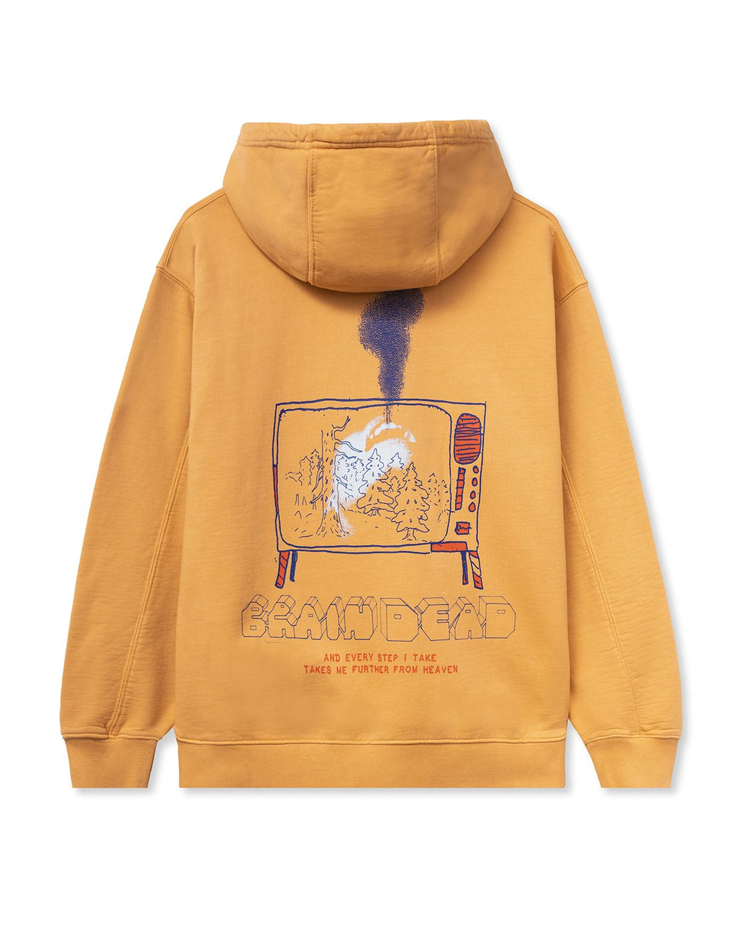 Brain Dead FURTHER FROM HEAVEN LONG SLEEVE HOODED SWEATSHIRT - TERRACOTTA