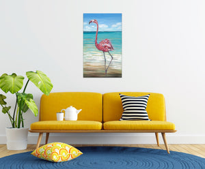 Beach Walker Flamingo | Canvas Print