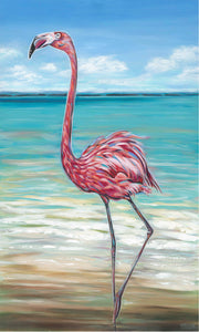 Beach Walker Flamingo | Original Acrylic Painting