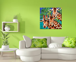 Three Giraffe friends painting in a living room