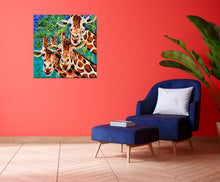 Load image into Gallery viewer, Three Giraffe friends painting in a sitting room