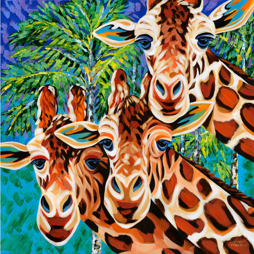 Three Giraffe friends painting